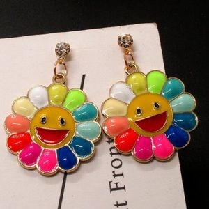 Rainbow 🌈 smiley 😃 face earrings